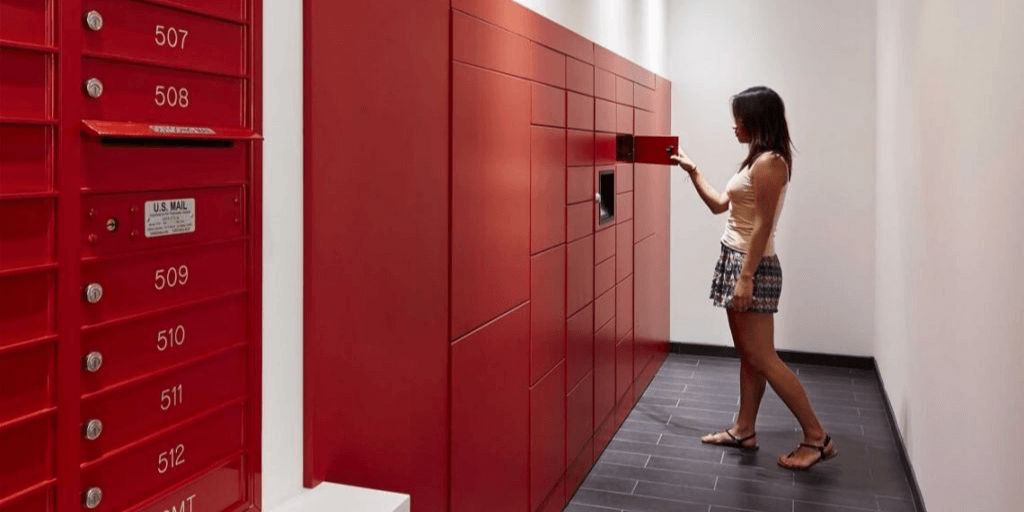 Women opening smart locker.